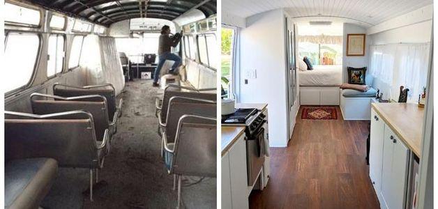 Em três anos, americana transforma ônibus velho em casa de luxo