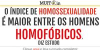O índice de homossexualidade é maior entre homofóbicos, diz estudo.
