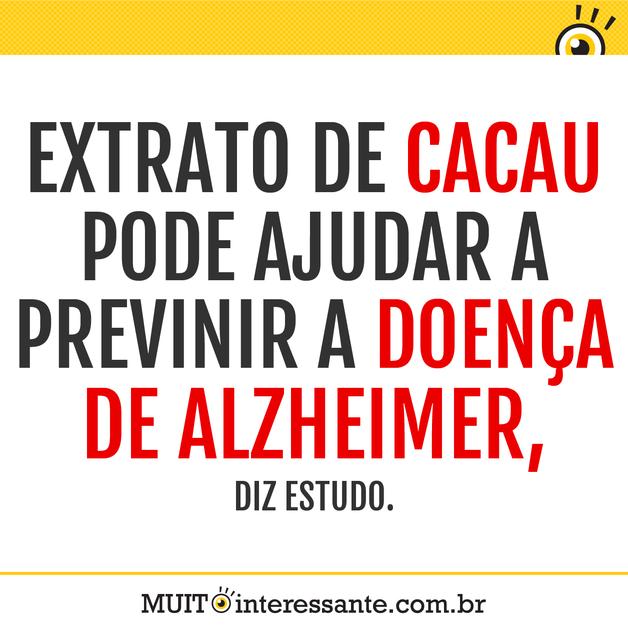 Extrato de cacau pode ajudar a previnir a doença de Alzheimer, diz estudo.