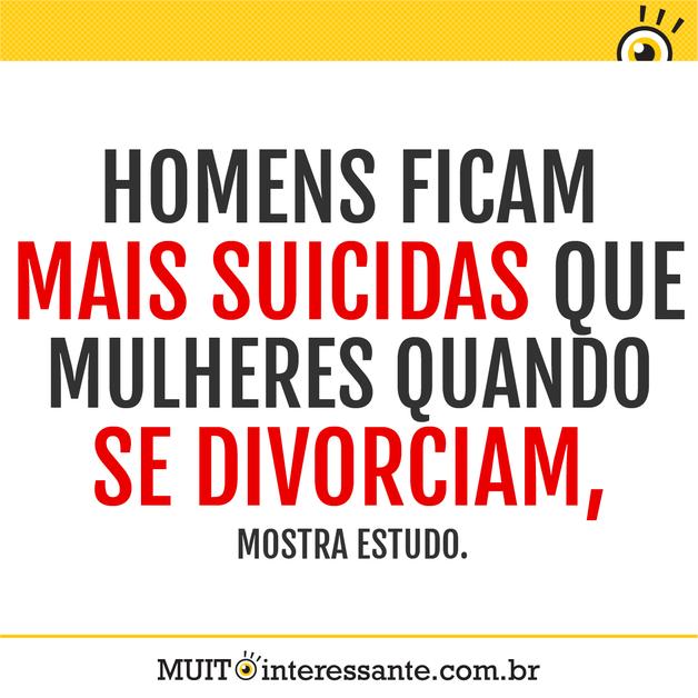 Homens ficam mais suicidas que mulheres quando se divorciam, mostra estudo.