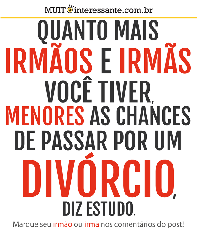 Quanto mais irmãos e irmãs você tiver, menores a chances de passar por um divórcio, diz estudo.