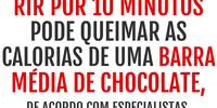 Rir por 10 minutos pode queimar as calorias de uma barra média de chocolate, de acordo com especialistas.